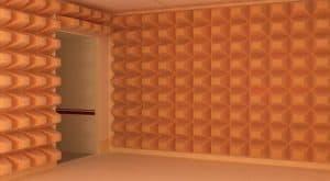 Large orange acoustic panels.