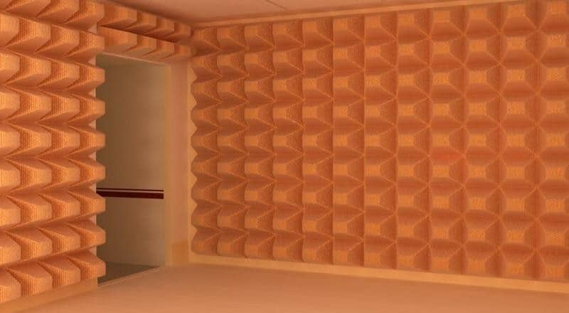 Large orange acoustic panels.